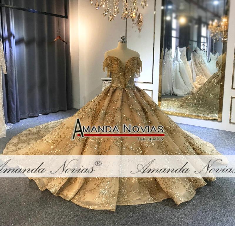 Image 3 - Off the shoulder golden ball gown wedding dressWedding Dresses   -