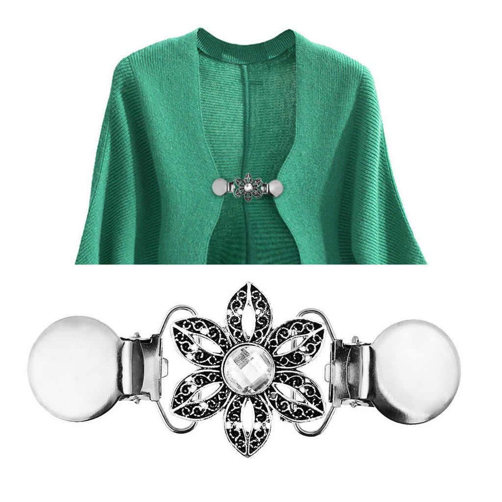 Kadın hırka klipleri boy T-Shirt elbiseler şal klip bluz kazak gömlek yaka klipsler Vintage çiçek klipleri broş
