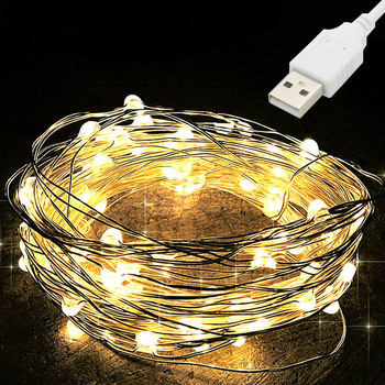 10M USB LED String Light Waterproof LED Copper Wire String Holiday Outdoor Fairy Lights For Christmas Party Wedding Decoration 2pcs led string lights 3 metre 30 leds starry copper wire fairy string lights for holiday party wedding christams decoration