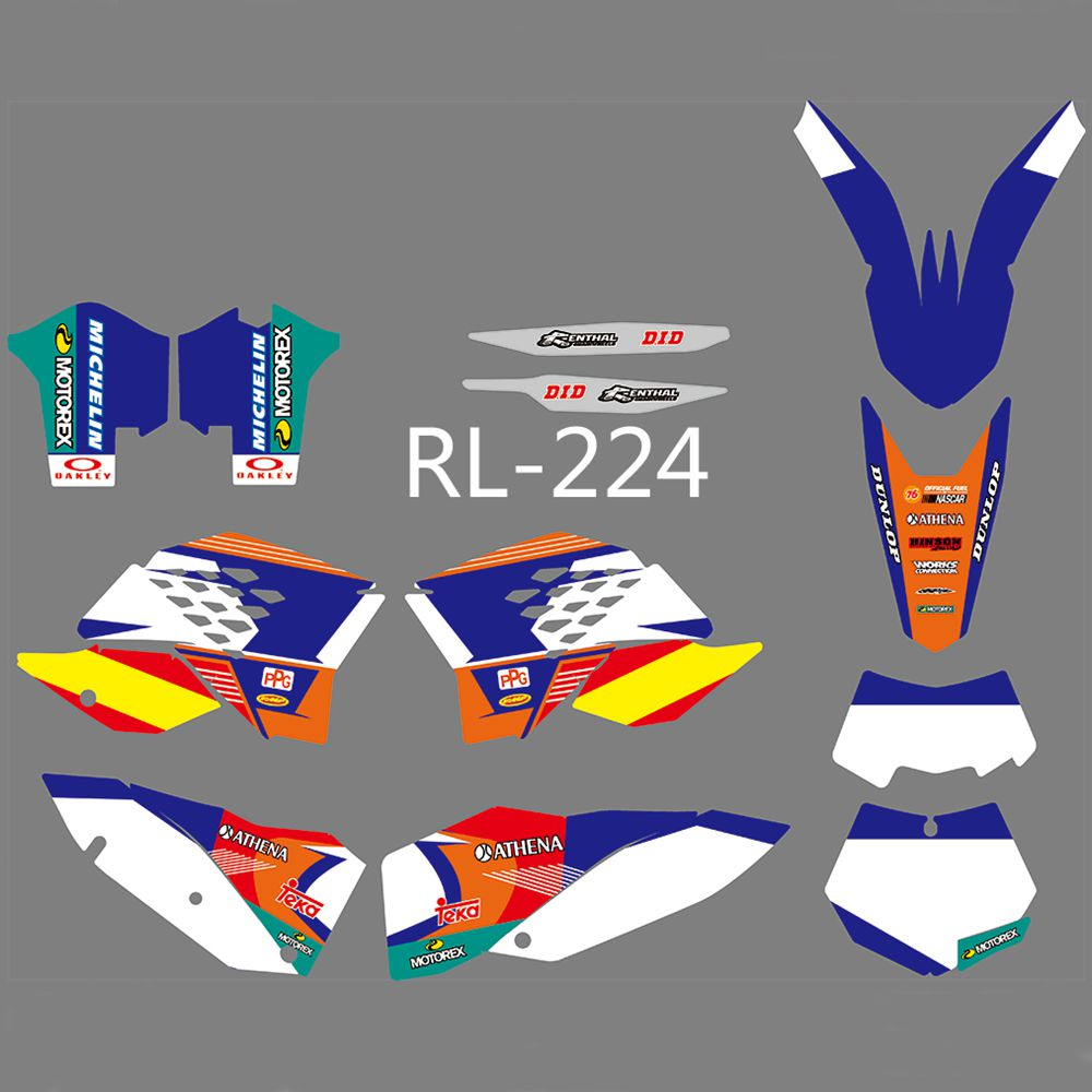 New Full <font><b>Graphics</b></font> Decals Stickers Custom Number Name Glossy Bright Stickers For <font><b>KTM</b></font> <font><b>EXC</b></font> XCF 125 250 450 530 <font><b>2008</b></font> 2009 2010 2011 image