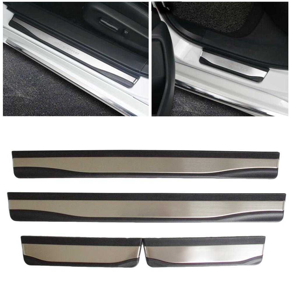Black car Steel Door Sill Scuff Plate Guards Trim Fit For Honda Accord 2016 2017