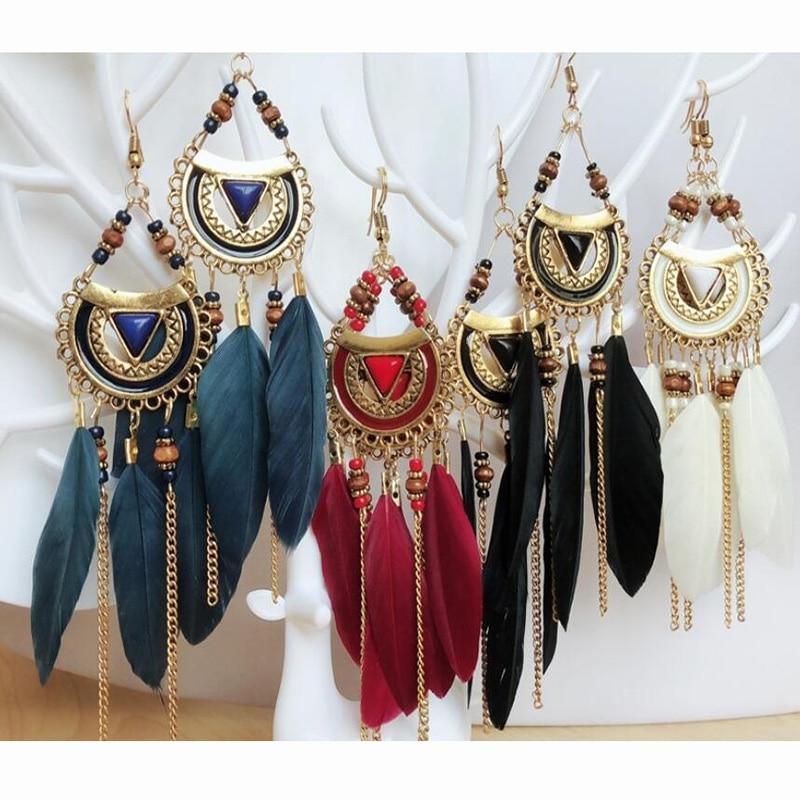 Classic Lady Feather Long Drop Earrings Luxury Tassels Earrings Wedding Fashion Jewelry for Women Beach Resort Beach Earring