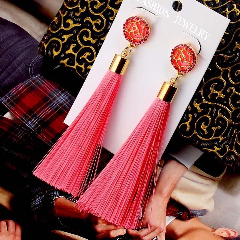 European Fashion Bohemian Tassel Crystal Long Earrings White Red Silk Fabric Drop Dangle Tassel Earrings For Women 2019 Jewelry 2
