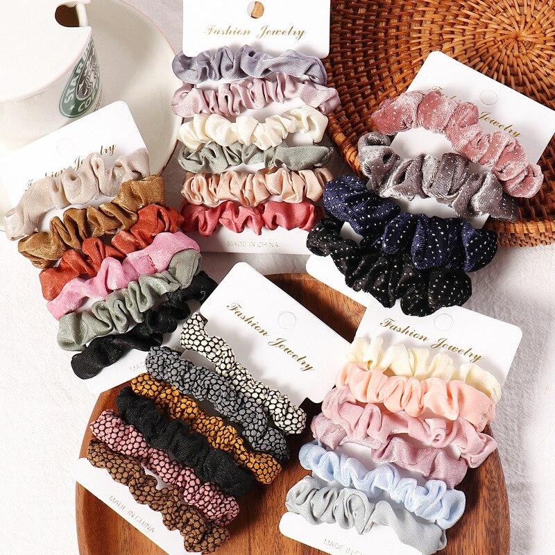 1 Juego de coleteros para el pelo para niña, lazos para el pelo de Color caramelo, cuerda para mujer, accesorios para el cabello, cintas para el pelo de 4 a 6 uds.