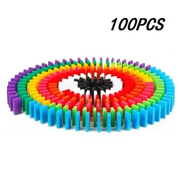 100/300/500pcs Children Color Sort Rainbow Wood Domino Blocks Kits Early Bright Dominoes Games Educational Toys For Kid Gift - 100PCS