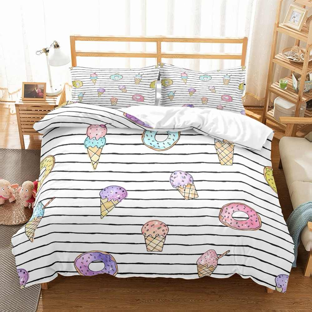 Custom Food Bedding Set 2 3pcs Teens Pink Purple Blue Doughnuts Cakes Black Stream White Duvet Cover Washable Comforter Cover Bedding Sets Aliexpress