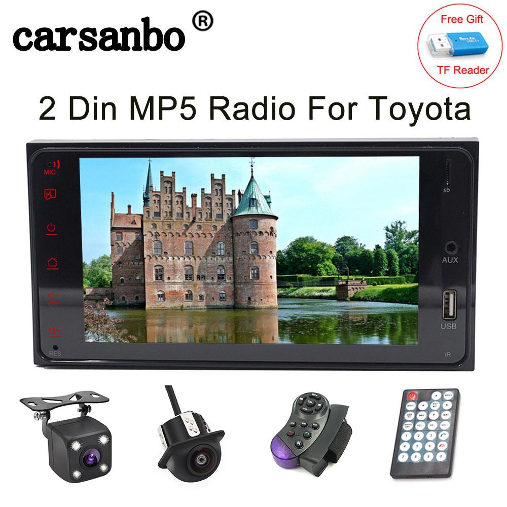 2 Din Car Radio 7 inch <font><b>Touch</b></font> Screen MP4 MP5 Bluetooth Auto Multimedia Player USB Mirror link Android / IOS 2 Din MP5 For Toyota image