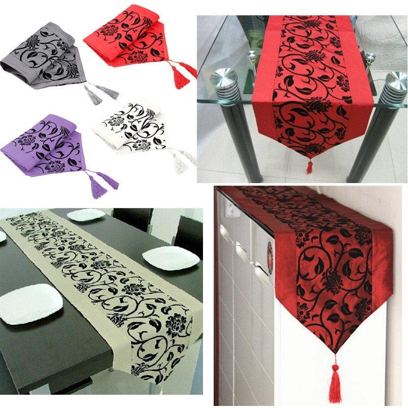 Flora Flower Blossom Flocked Damask Home Hotel Restaurant Table Runner Cloths
