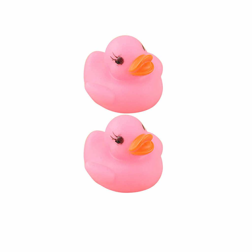 2 pces amarelo borracha-pato led iluminar-se patos banho brinquedo guinchado água jogar crianças brinquedos para crianças luminescentes joouets despeje enfants