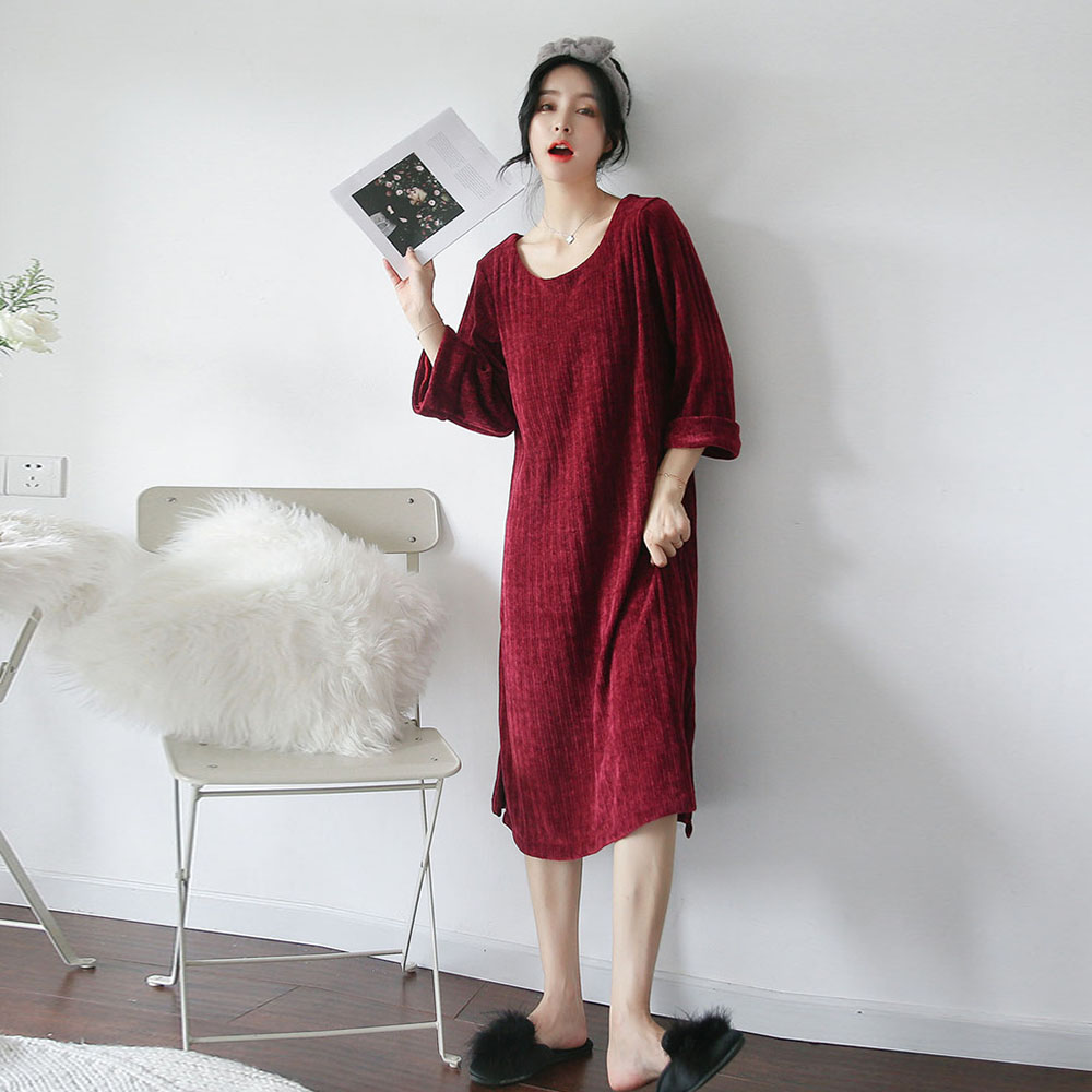 Red Velvet Spring Pajamas Dress O-Neck Long Sleeve Women Sleep Lounge Homewear DZA233