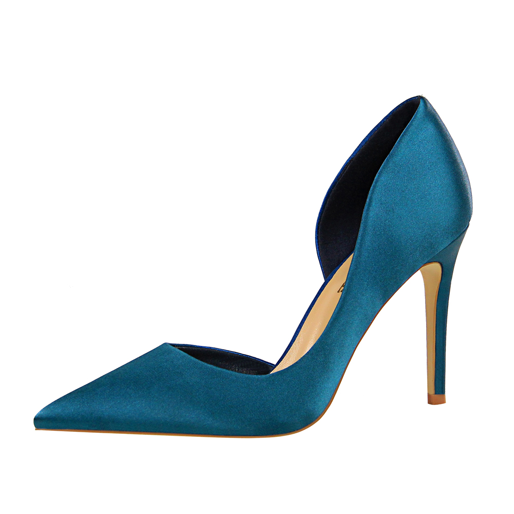 Luxury Shallow Pointed Toe Women Satin High Heels Shoes Pumps Office Work Wear Casual Female Pumps Shoes For Ladies G0096 in Women 39 s Pumps from Shoes