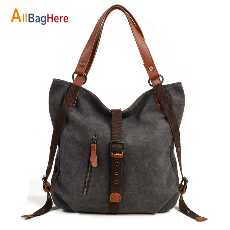 Fashion Canvas Shoulder Bag Tote Ladies Quality Multifunctional Messenger Crossbody Backpack Waterproof Travel Handbag For Women