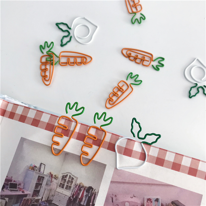 10 Pc Cartoon Cute Carrot Shaped Clip Student Bookmark Creative Vegetables Metal Clips Kawaii Colour Student Supplies Stationery