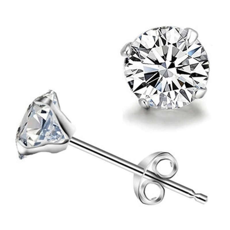 Korean Four-jaw Zircon Crystal Stud Earrings For Women Silver Color Earring Earings Jewelry Earing Brincos Brinco Oorbellen Gift