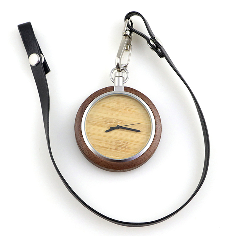 Dropshipping Fashion Popular Custom Logo Engraved Vintage Steampunk Ebony Wooden Pocket Watch For Men With Leather Strap