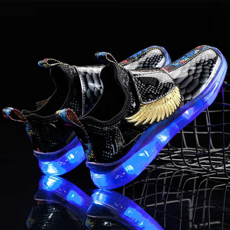 Noel Yeni Çocuk Kanat ışıklı ayakkabı LED Lamba Ayakkabı USB Şarj Ayakkabı Çocuklar Çocuklar için Erkek Spor Ayakkabı