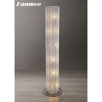 Retro Crystal Beads Floor Lamp LED Classic Crystal Cylinder Standing Lamp Modern Large Deco Indoor Light Fixture for Living Room