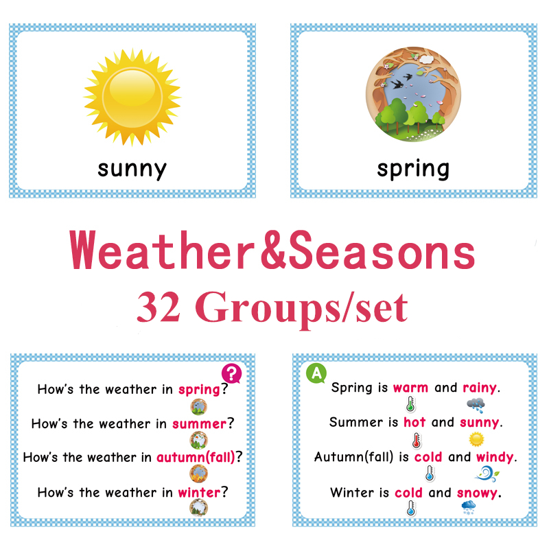 Weather & Season Reading Card Fun Early Education Flashcards School Teacher  Educational Toys Gifts For Children Learning Toy