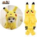 Suprepet gato traje bonito roupas para animais de estimação pikachu cosplay roupas com botão outono inverno gato casaco casa pijamas com capuz cão casaco