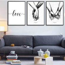 Black And White Holding Hands Canvas Prints Painting Nordic Poster Lover Quote Wall Pictures For Living Room Abstract Decor(China)