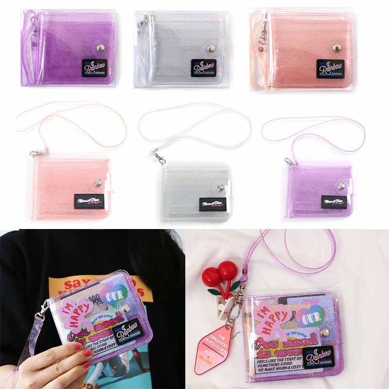 Transparent ID Card Holder PVC Folding Short Wallet Fashion Women Girl Glitter Business Cards Case Purse With Lanyard