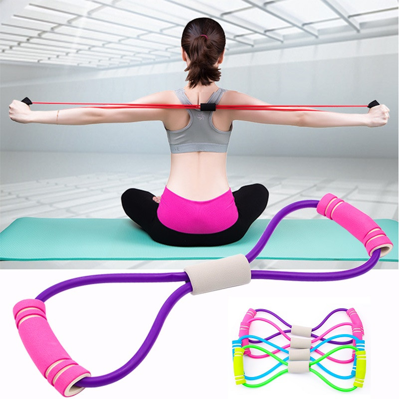 Yoga Gym Fitness Resistance Bands 8 Word Chest Developer Elastic Bands Expander Rope Muscle Fitness Rubber Tubing Pull On Rope