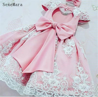 Vintage Flower Girls Dresses Pink Baby Infant Toddler Baptism Clothes With Cap Sleeves Lace Tutu Ball Gowns Birthday Party Dress