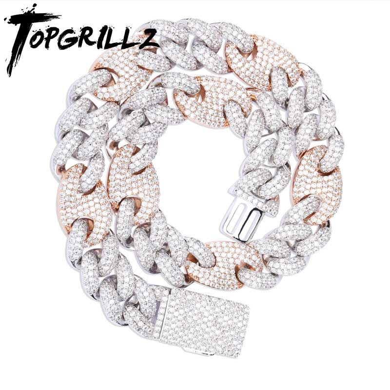 TOPGRILLZ 20mm Miami Lock Clasp Cuban Necklace Iced Out AAA Cubic Zircon Cuban Link Chain Hip Hop Jewelry For Man Necklaces