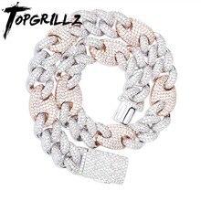Topgrillz fecho para bloqueio de miami, 20mm colar cubano aaa zircão cúbico corrente hip hop jóias para colares masculinos