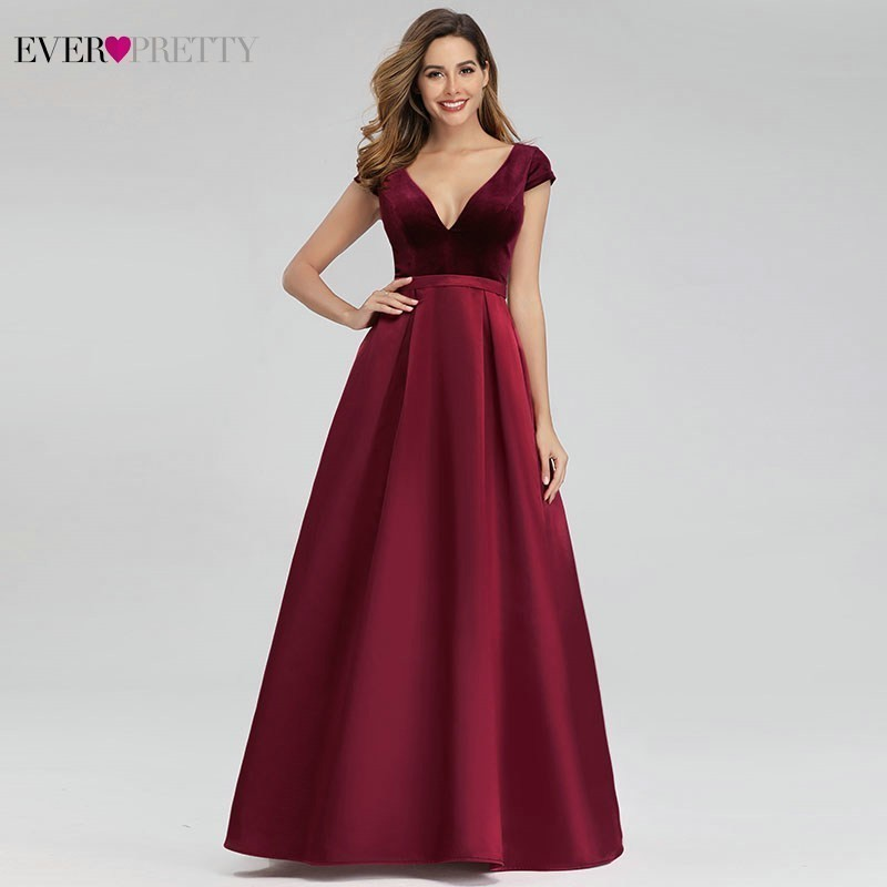 Elegant Burgundy Evening Dresses For Women Ever Pretty A-Line V-Neck Cap Sleeve Formal Party Gowns Vestido Largo Fiesta 2020