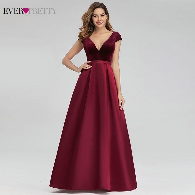 Elegant Burgundy Evening Dresses For Women Ever Pretty A-Line V-Neck Cap Sleeve Formal Party Gowns Vestido Largo Fiesta 2020