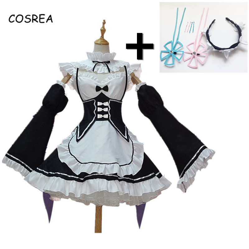 RAM Remu REM Maid Cosplay Apron Dress Women Girls Female Outfit Uniform Anime Short Party Dress Sale Casual Cosplay Costumes