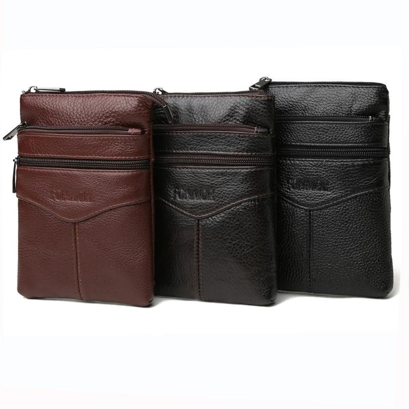 Fashion Genuine Leather Men Messenger Bags Zipper Phone Pouch Casual Shoulder Bag For Male Bolsas Feminina Mujer Sac A Main
