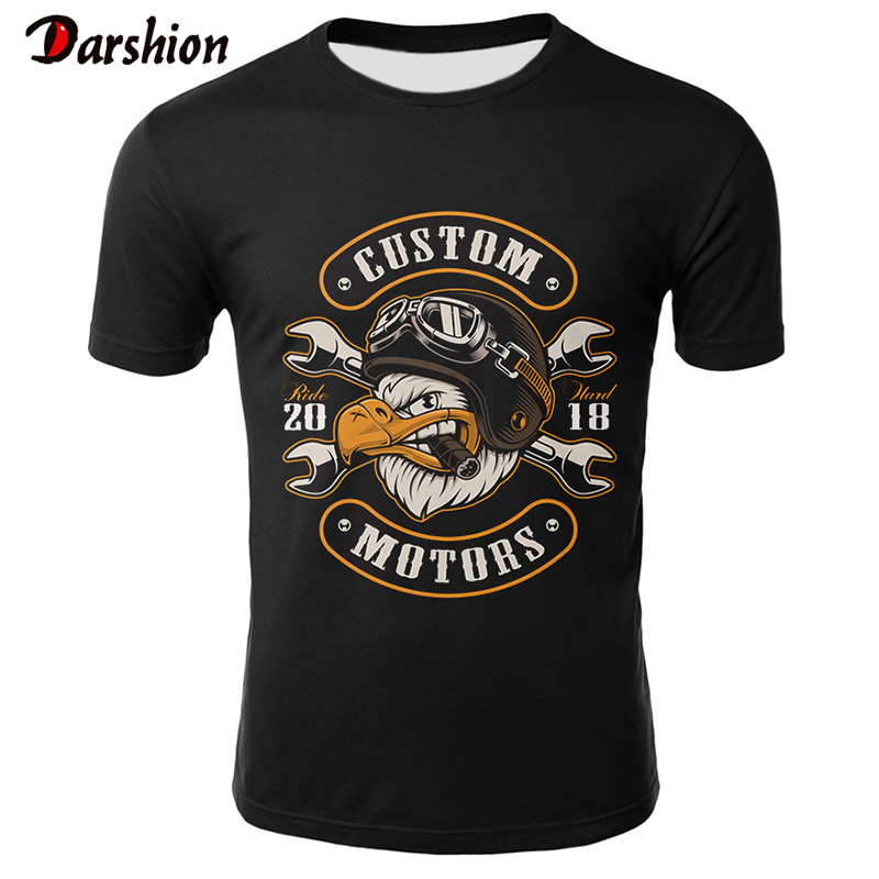 Skull T Shirt Men Black Tshirt Funny Motorcycle Punk 3d Printed T-shirt Hip Hop Mens Clothing Casual Punk Rock Streetwear Top