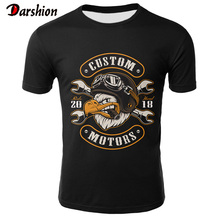 Skull T Shirt Men Black Tshirt Funny Motorcycle Punk 3d Prin