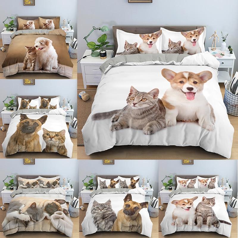 2/3Pcs 3D Animal Bedding Set Dog And Cat Pattern Comforter Bedclothes Duvet Cover    s