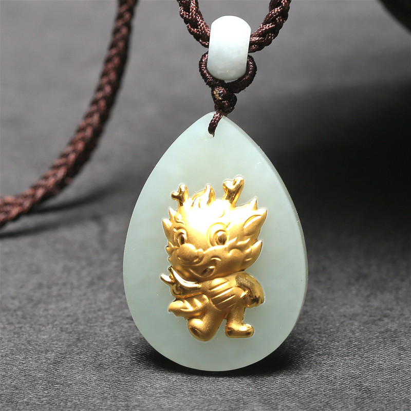 Fine Chinese Natural White Jade Pendant Necklace Dragon