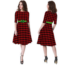 2019 осеннее рождественское платье с короткими рукавами и принтом