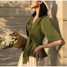 CMAZ blusas de mujer 2020 Primavera Verano elegante cuello pico Mujer sólido camisas Vintage mujeres Tops CMAZ1007