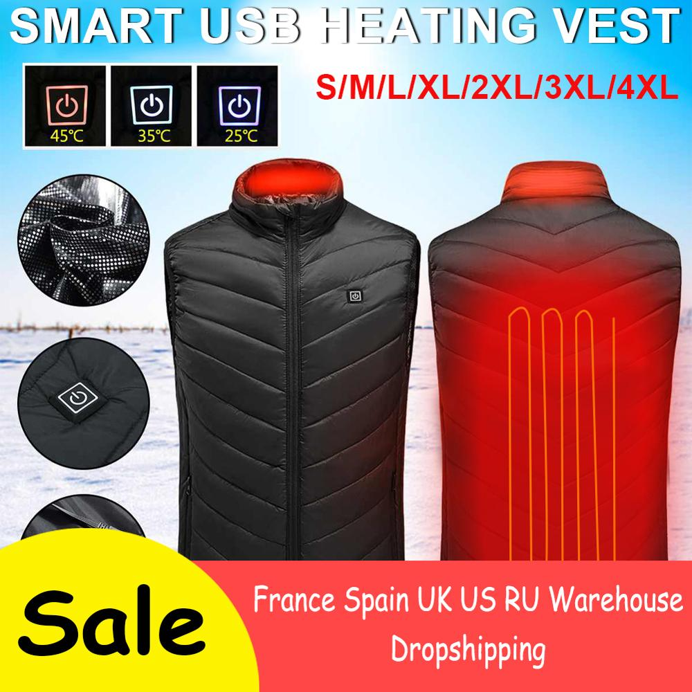 USB Heated Vest Outdoor Warm  Washable Men Women Heating Vest Winter Cloth  Camping Hiking Heated Jacket