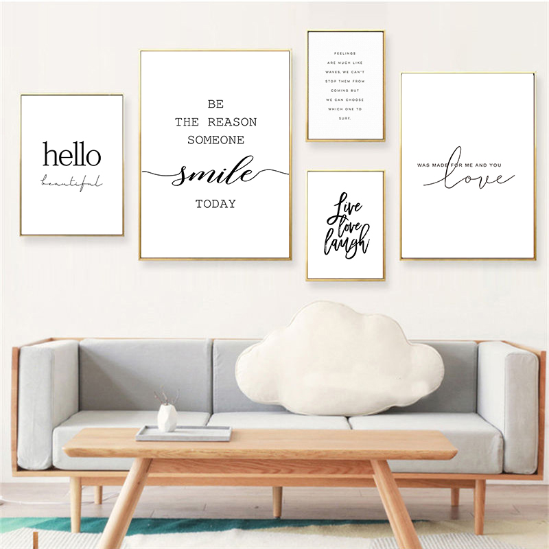Modern Life Quotes Art Posters Home Decor Nordic Canvas Painting Wall Art Letters Print Fresh Minimalist for Living Room Picture