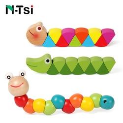 Coloré en bois ver Puzzles enfants apprenant éducatif didactique bébé développement jouets doigts jeu pour enfants Montessori cadeau
