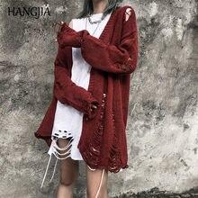 Cardigan déchiré à trous pour femmes, pull Harajuku à rayures, en tricot, ample et assorti avec tout, collection 2019