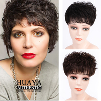 HUAYA Women Natural Color Short Curly Clip Closure Hair Extension Black Brown Synthetic Wig Clip Female Wig Head Replacement Bl