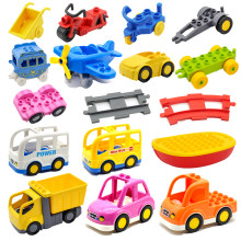 Big Building Blocks City Car Motorcycle Bus Airplane Helicopter Truck Engineering Vehicle Accessories Duploe Toys For Kid Gift