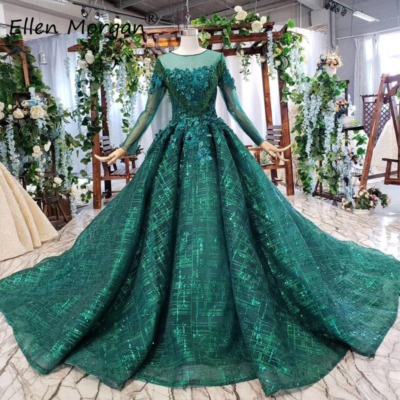 Paillettes vert foncé robes de mariée 2019 perles de dentelle élégantes manches longues vraies Photos Corset mariée musulmane robes de bal pour les femmes