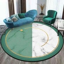 פשוט שיש ירוק ולבן תפרים עגול שטיח קטיפה עץ רצפת החלקה מחצלת דלת 160cm עגול מחצלת אישית
