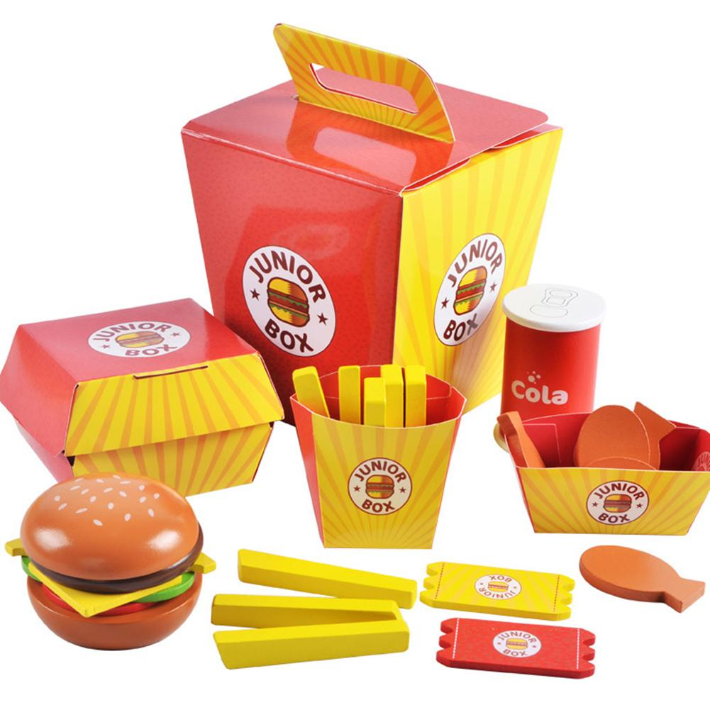 Simulation Wooden Hamburger Fries Fast Food Mdeol Set Kids Pretend Play Toy Creating Stacking Your Favorite Burger Combinations