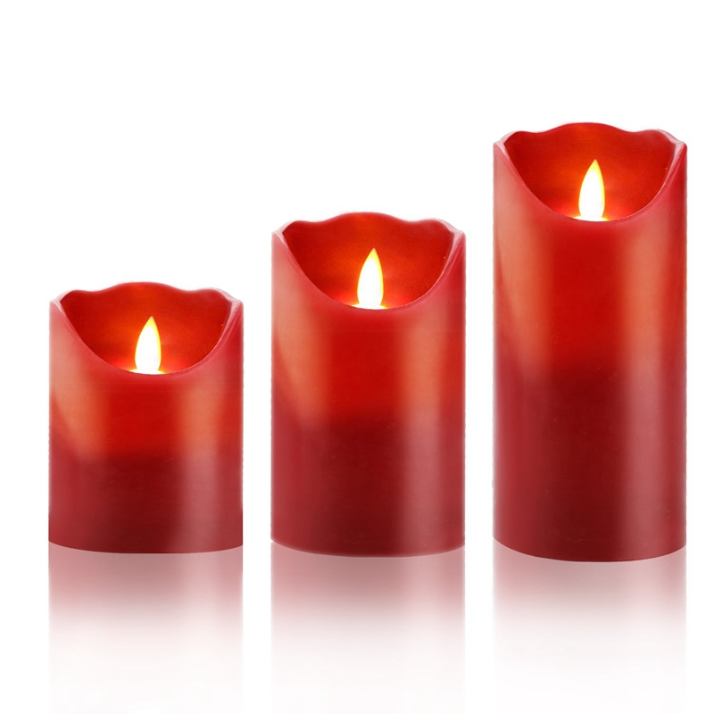 Promotion! Flameless LED 4/5/6-Inch Drip-Less Wax Pillar Candles - Real Wax & Real Flickering Candle Motion - With Remote 24-Hou