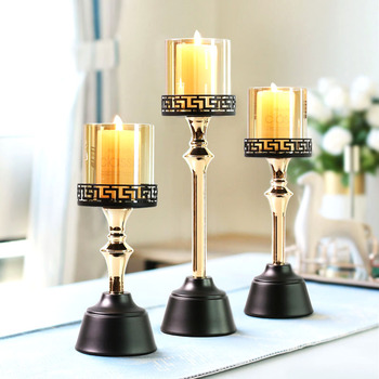 European Table Crystal Personalized Glass Candle Holder Nordic Luxury Romantic Candlesticks Living Room Decoration Salon II50ZT